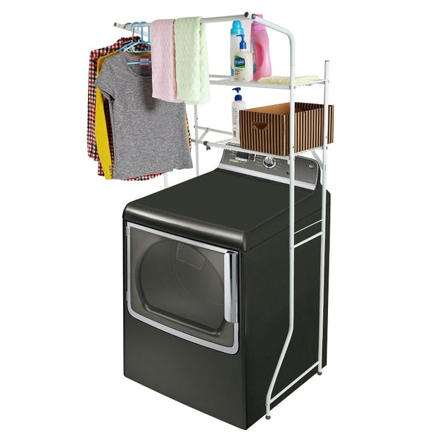 Turn a utility closet into an efficient laundry operation with a lofty storage unit designed to fit over front-load machines.