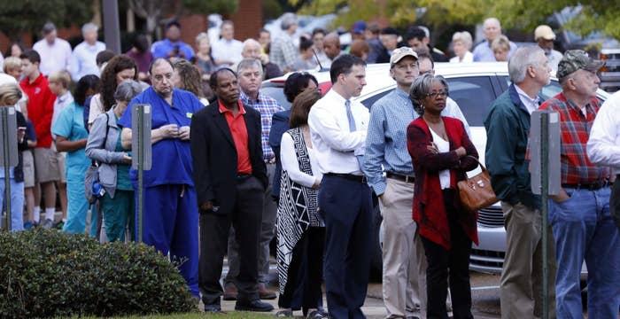 People wait in line to vote in Ridgeland, Mississippi, on Nov. 8.