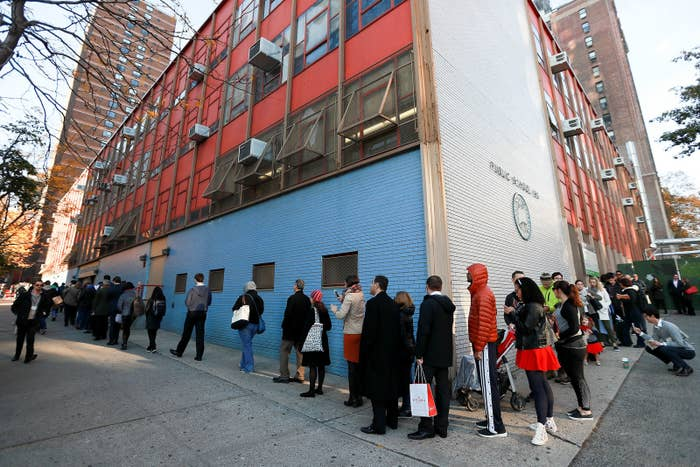 Voters line up to cast their ballots on Nov. 8 in New York City.
