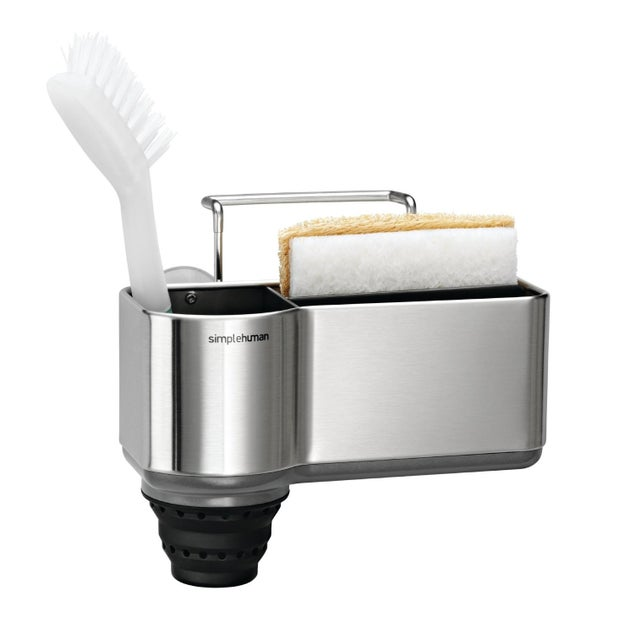 Drain icky sponges and scrubbers in this sleek caddy that'll blend in with your kitchen sink.