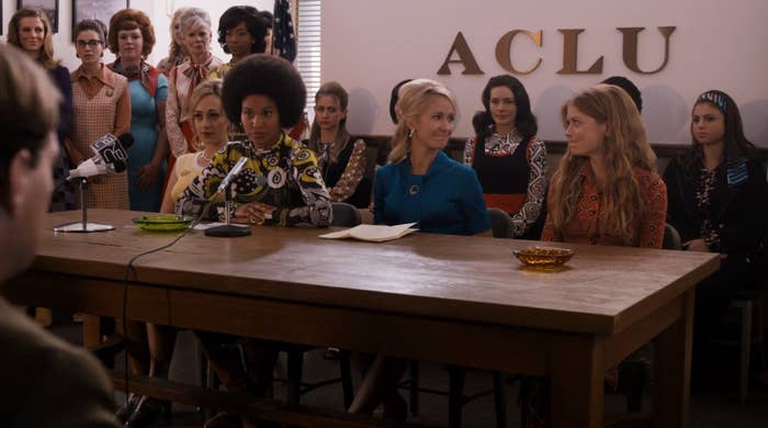 Joy Bryant, Anna Camp, and Genevieve Angelson on Good Girls Revolt.