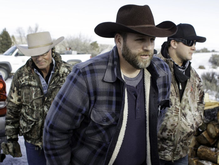 Ammon Bundy and supporters during the standoff in January at Oregon's Malheur National Wildlife Refuge Headquarters.
