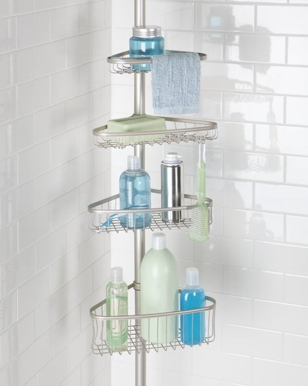 Tidy up the shower with a constant-tension caddy for storing all your fancy toiletries.