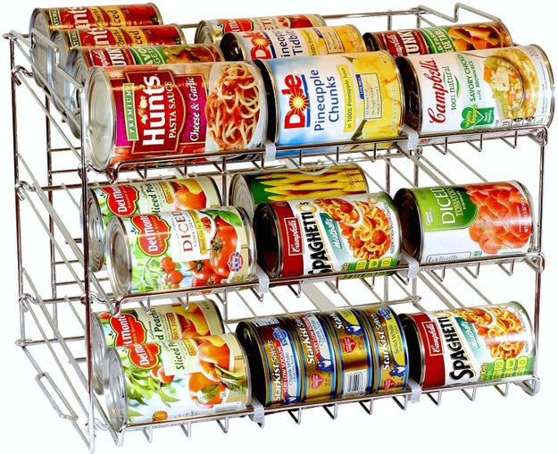 Safely tuck away pantry essentials above kitchen cabinets with these stackable can organizers that'll help you shop your own kitchen.