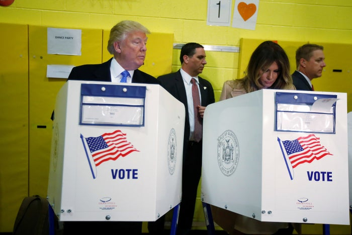 Donald Trump and his wife, Melania Trump, vote at PS 59 in New York on Nov. 8, 2016.