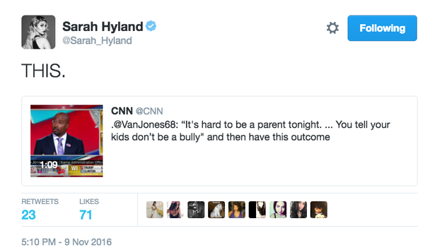 And Sarah Hyland asked how we tell the younger generation about the result.