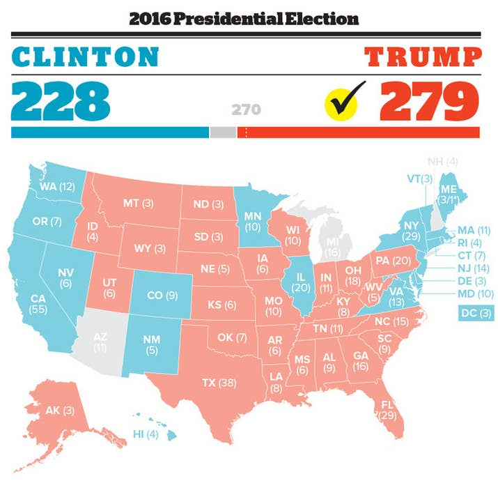 Heres Our Map Showing Which States Clinton And Trump Won