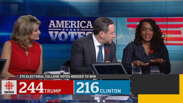 American pundit Danielle Moodie-Mills was on a panel on CBC News Network, providing commentary as the election results rolled in. When Donald Trump took the lead, she said the main cause was racism.