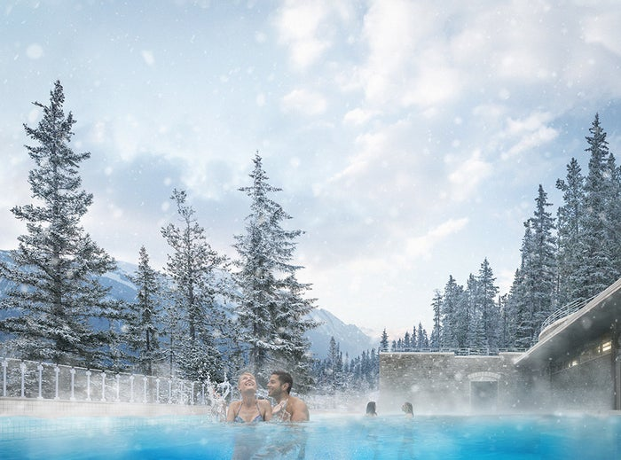A soak in the Banff Upper Hot Springs is the perfect way to relax and warm up after some chilly winter activities. Take a dip and soak in the steamy hot mineral water.