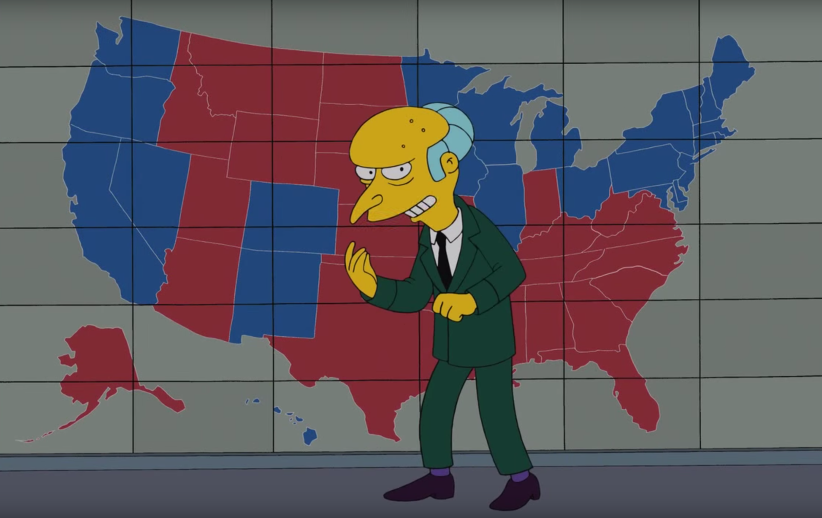 People Think The Simpsons Predicted Trumps Win But Its Not True - Simpons us map vs real voters map