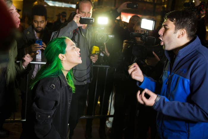 A protester argues with a supporter of Donald Trump in New York City.