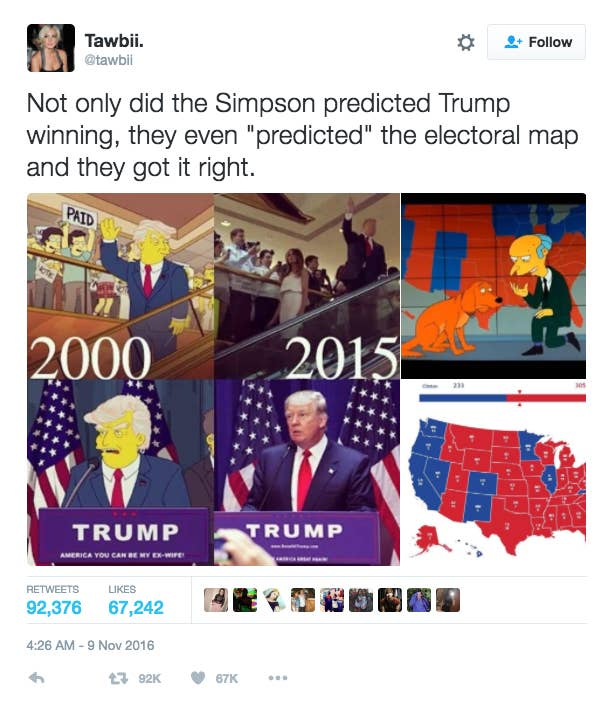 People Think The Simpsons Predicted Trumps Win But Its Not True - Simpsons predictions trump us map