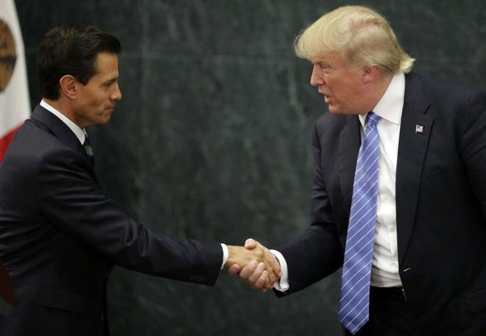Mexican President Enrique Pena Nieto and Donald Trump