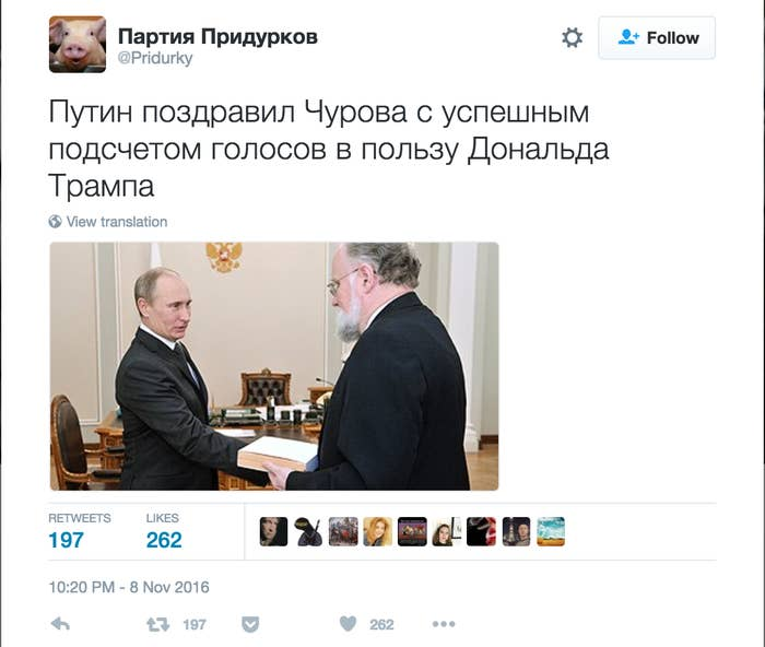 """""""Putin congratulates Churov [ex-head of Russian Election Committee] with a successful vote count for Donald Trump."""""""