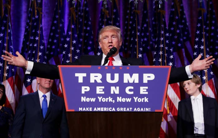 Republican president-elect Donald Trump delivers his acceptance speech during his election night event at the New York Hilton Midtown in the early morning hours of Nov. 9, 2016, in New York City.