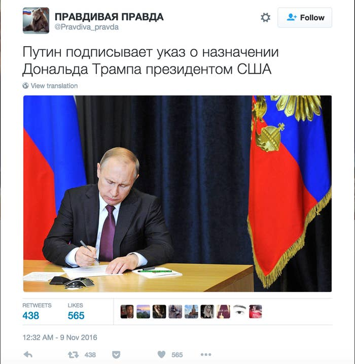 """""""Putin signs a decree making Donald Trump president of the United States."""""""