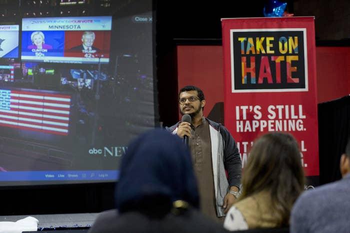 Suhaib Hashem, 20, of Detroit, leads a prayer.