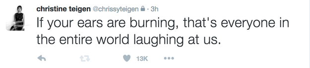 """Chrissy Teigen said the """"entire world"""" was laughing at the decision."""