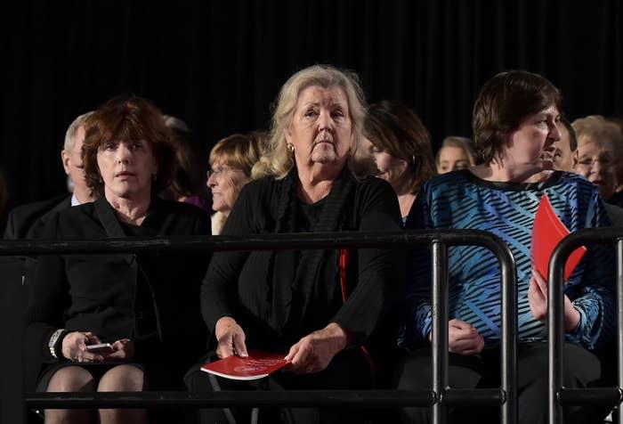 Kathleen Willey, left, Juanita Broaddrick, center, and Kathy Shelton at the second presidential debate.
