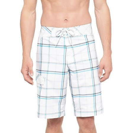 Plaid board shorts.