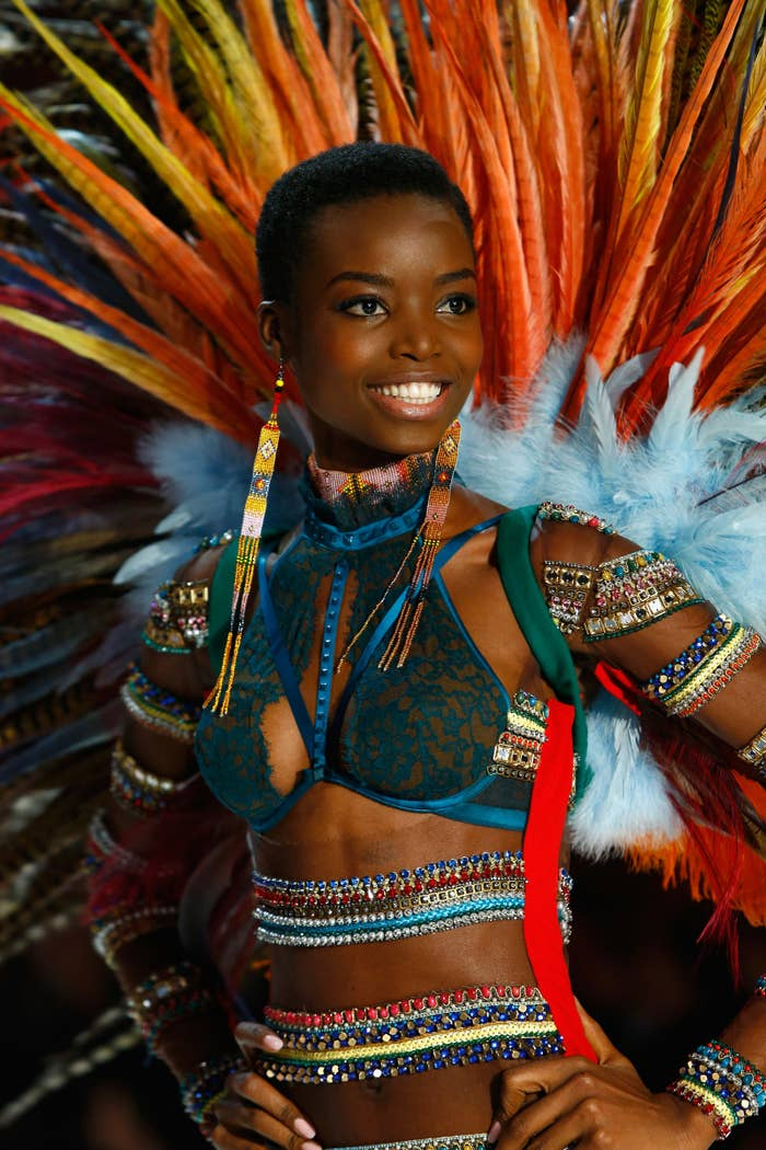 """In an Instagram caption, Borges wrote, """"My 1st outfit is a love letter to my beloved continent, AFRICA. First show done! #mariaborges #africa #vsfashionshow #vsfs2016."""""""