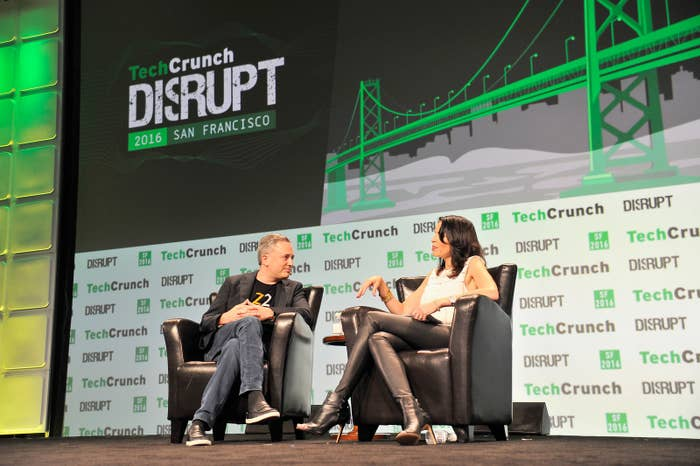 Zenefits CEO David Sacks speaks at TechCrunch Disrupt SF on September 13.