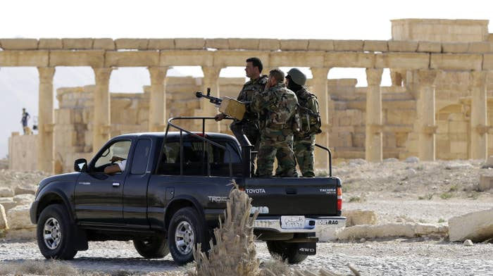 The Syrian army patrolling Palmyra in May.