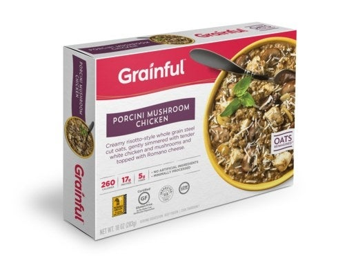 Grainful takes steel cut oats to a whole new level with its line of frozen entrees and meal kits. The Porcini Mushroom Chicken frozen entree combines slowly simmered porcini mushrooms, tender white chicken, basil, oregano, parsley, and 100% whole grain steel cut oats cooked into creamy risotto topped with Romano cheese.