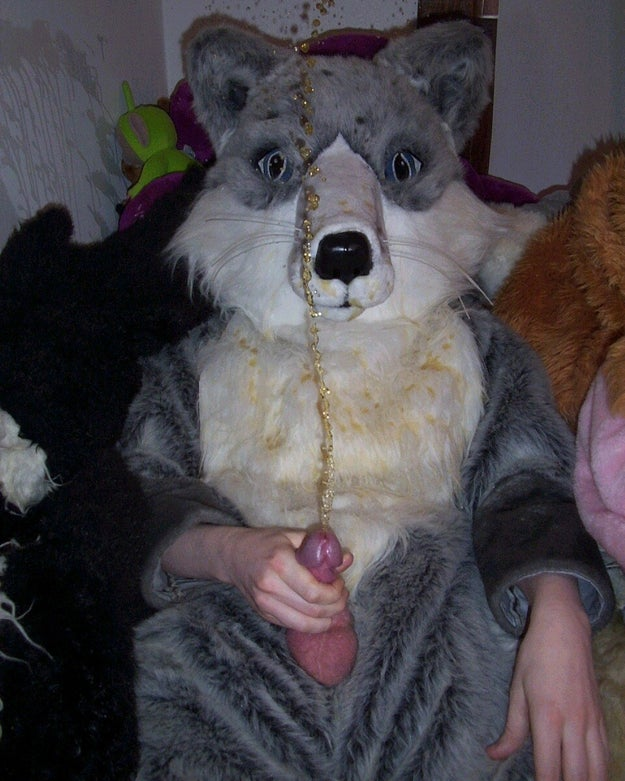 This furry pissing on his fur suit.