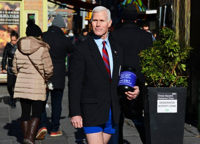 Sherman, whose hobby is photographing the various characters in Times Square, told BuzzFeed News he then started taking photos of the man but did not engage with him in any way.Sherman posted the photos to his Facebook page, where people soon helped him to identify the Pence lookalike as Glen Pannell, who Sherman then interviewed on his own website.