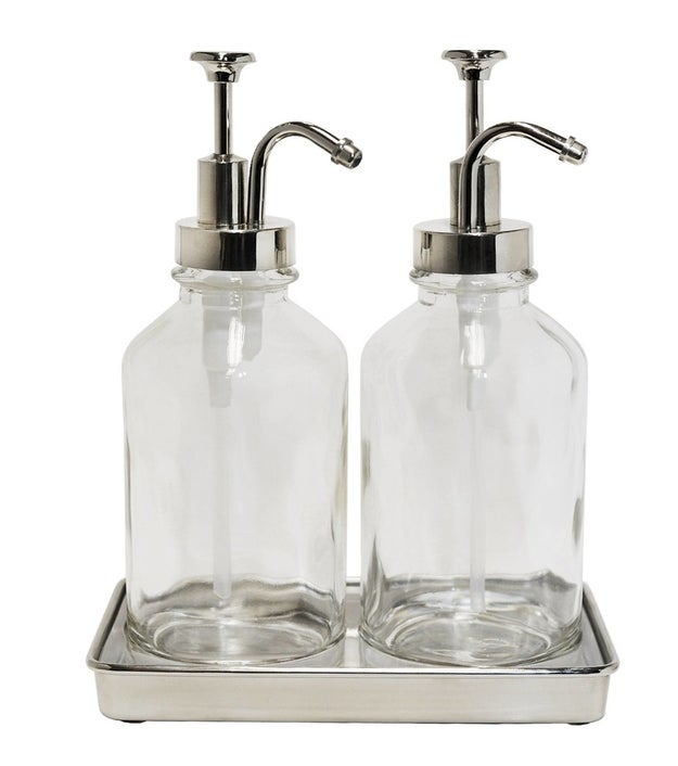 Pour your favorite hand soap and lotion into this elegant oil can–style soap pump set. No one'll know its source is a economy size hand bottle.