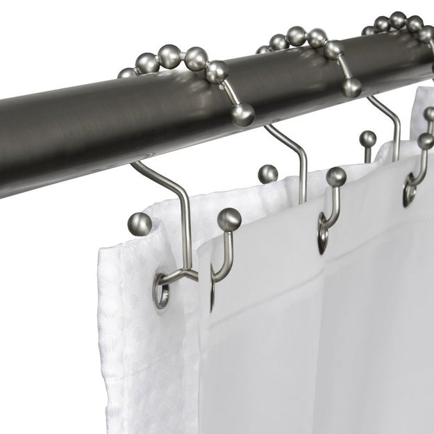 Overcome shower-curtain snags while you're trying to get in and out in a jiffy with easy-glide shower rings that also make for easier curtain or liner removal for cleaning.