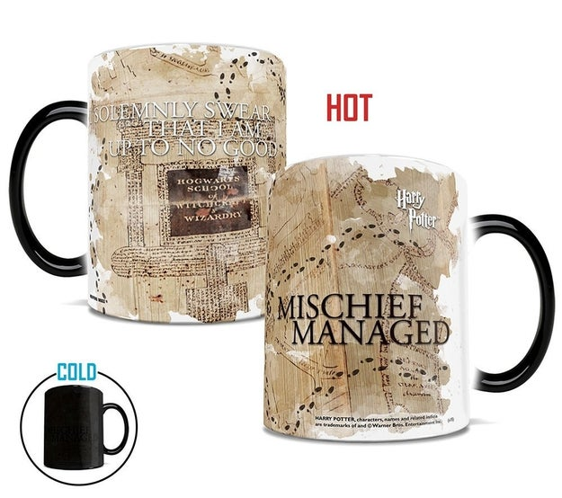 A Marauder's Map heat-changing mug that lets you roam Hogwarts after curfew without getting caught.