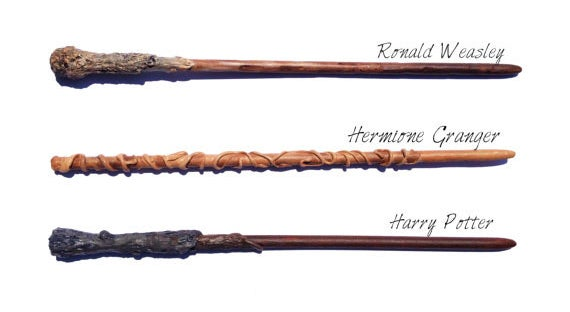 Wands made from unicorn hair, dragon heartstring, and phoenix tail feather.
