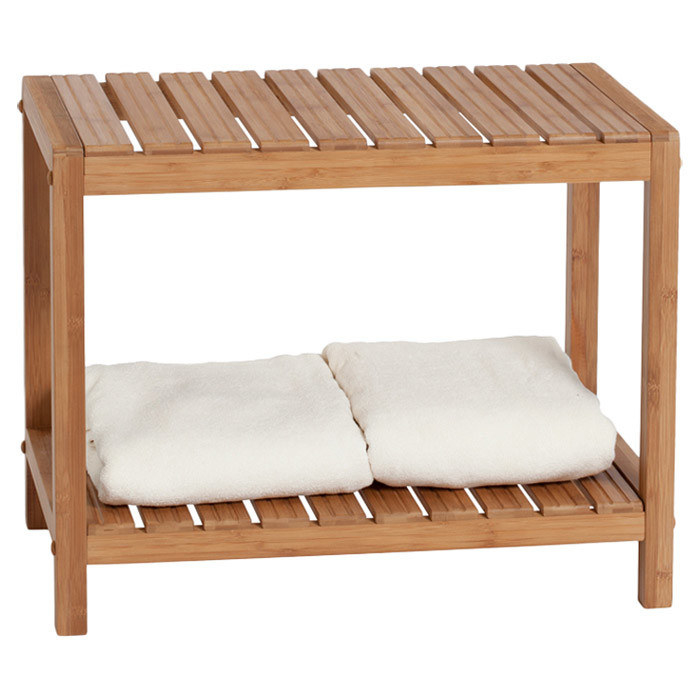 park it while you soak up the steam or shave your legs on an easy clean bamboo shower bench