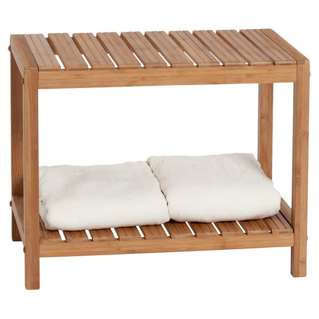 Park it while you soak up the steam or shave your legs on an easy clean bamboo shower bench.