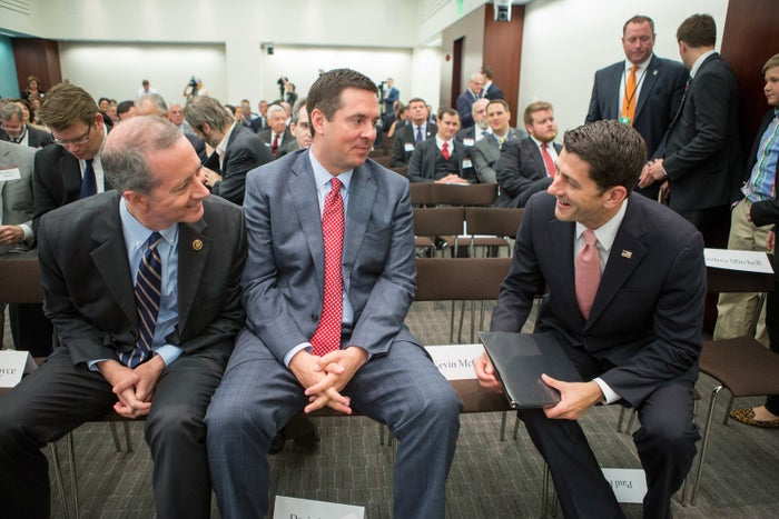 Reps. Mac Thornberry, Devin Nunes, and House Speaker Paul Ryan chat before a session on 'Protecting the U.S. Homeland' at The Council on Foreign Relations on June 9, 2016, in Washington, D.C.