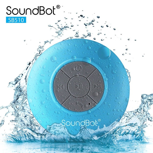 Pump in soothing, spa-like atmospheric tunes or just drown out your own horrible singing with a water-resistant, Bluetooth-enabled shower speaker.