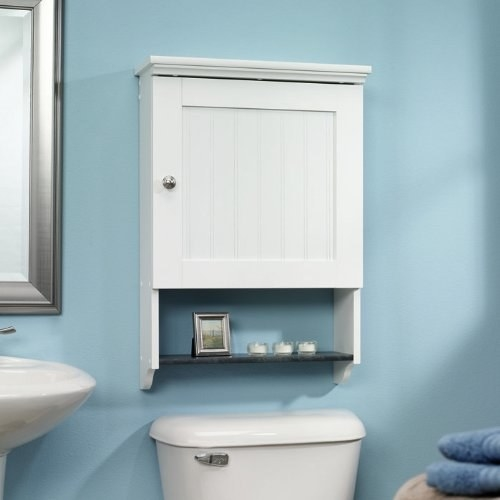 Hide the stuff you need — but is really ugly — nearby in this nice little wall-mount cabinet that makes good use of the space above your toilet.