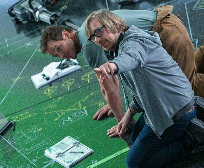 Chris Pratt and director Morten Tyldum on the set of Passengers