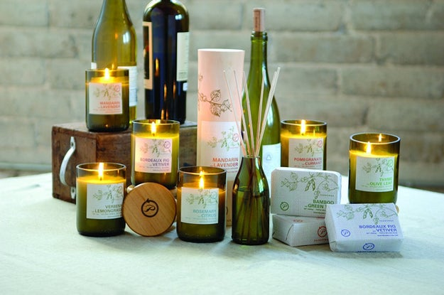 A set of eco-friendly, soy-based candles made with recycled glass.