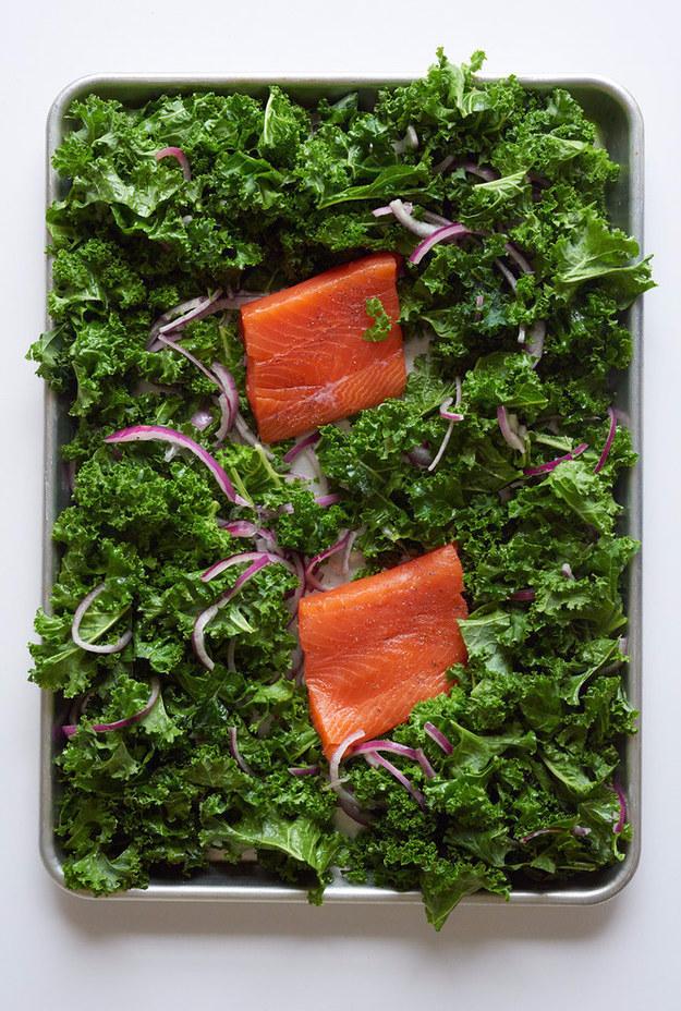 Sheet Pan Salmon with Crispy Kale