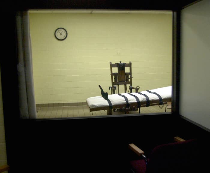 The death chamber at the Southern Ohio Correctional Facility, Aug. 29, 2001.