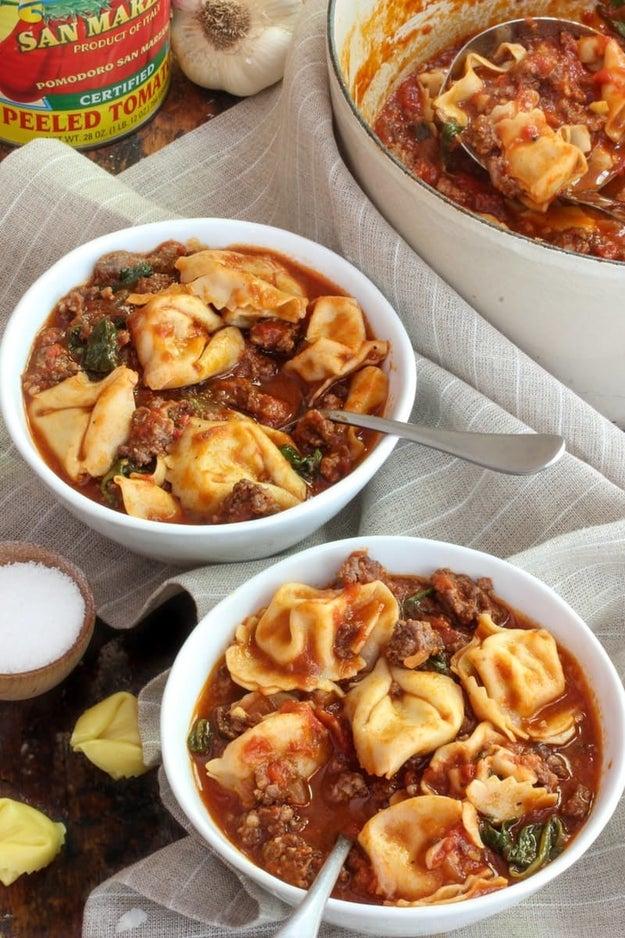 Italian Sausage & Tortellini Soup