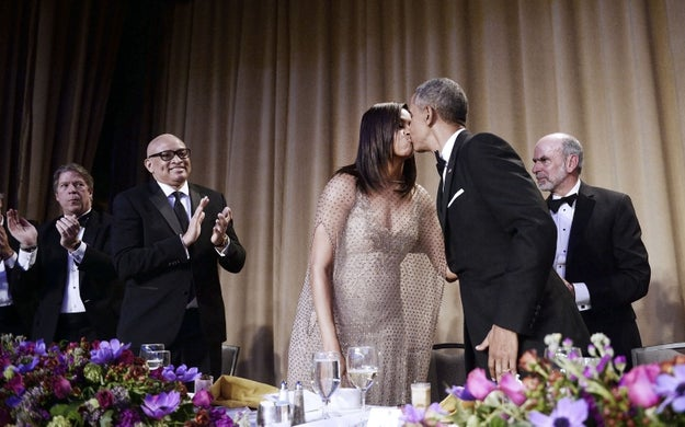 From full-blown kisses at the White House Correspondents' dinner...