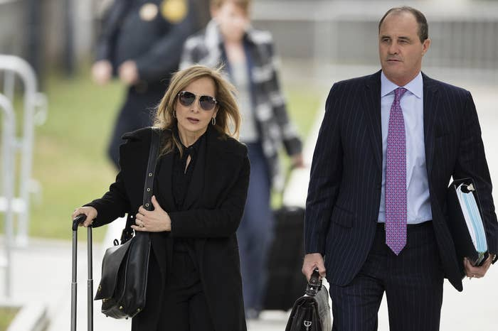 Attorneys Angela Agrusa and Brian McMonagle arrive at court.