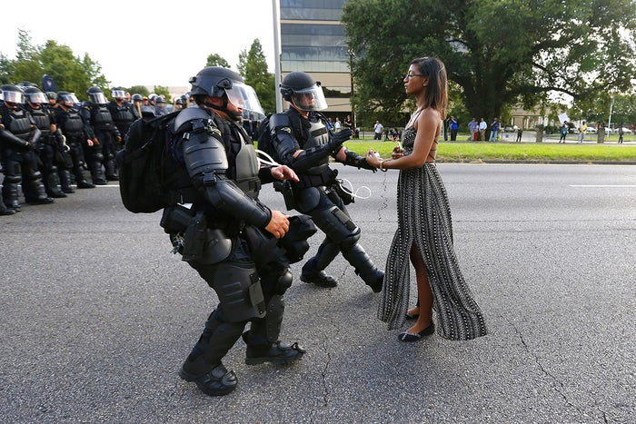 Ieshia Evans is detained by law enforcement as she protests the shooting death of Alton Sterling near the headquarters of the Baton Rouge Police Department in Louisiana, July 9.