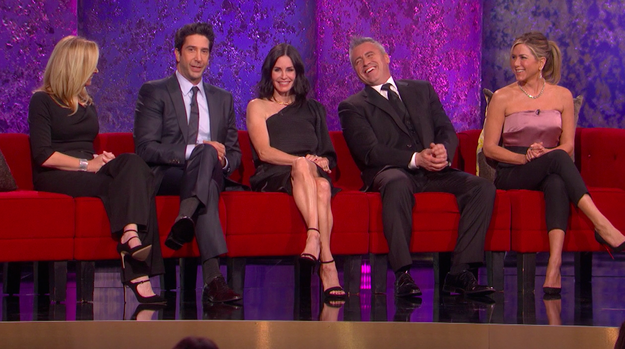 """Five of the six Friends cast members reunited on stage in February to honor television director and Hollywood legend James Burrows, who worked on a number of shows, including theirs, Cheers, and Will & Grace. The only missing """"friend"""" was Matthew Perry, who did send in a video. But considering the many past iterations of so-called Friends reunions, this was a pretty impressive gathering."""