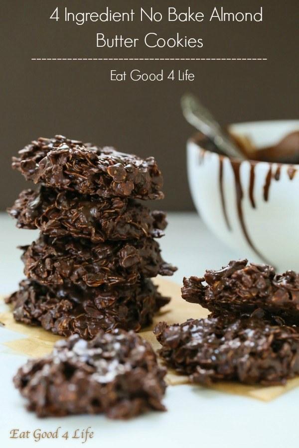 No-Bake 4-Ingredient Dark Chocolate Almond Butter Cookies