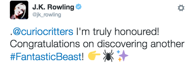 The spider even made its way to Queen J.K. Rowling, who seemed mighty pleased with the little buggo.
